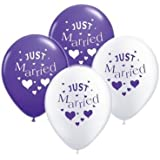 Just Married Purple & White Balloon Pack (10 Pack) (XBP309)