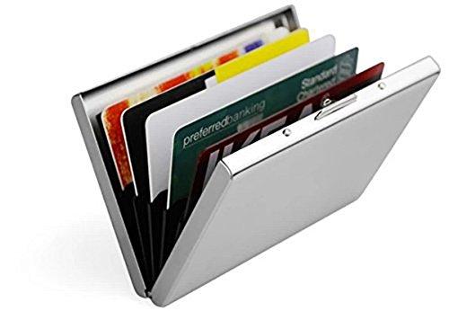 RFID Blocking Porta Carte di Credito in Acciaio per Uomini e Donne - Caslant Portafoglio Elegante Viaggi - Business, ID, Assicurazioni, di Debito ecc(Contro i criminali di scansione RFID)