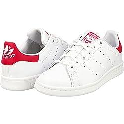 adidas Stan Smith J, Zapatillas Unisex Niños, Blanco (FTWR White/FTWR White/Bold Pink), 38 EU