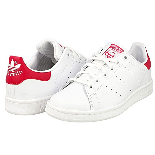 adidas Originals Adidas Stan Smith J B32703, Baskets Fille, Blanc Footwear White/Bold Pink 0, 38 2/3 EU