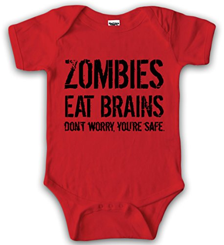 (Crazy Dog Tshirts - Baby Bodysuit Zombies Eat Brains Youre Safe Halloween Creeper for Infants (Red) Newborn - Baby-Jungen - Newborn)
