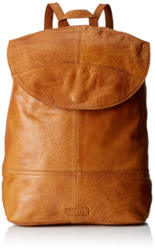 PIECES Damen Pctyra Leather Backpack Rucksackhandtasche, Braun (Cognac), 16x32x37 cm