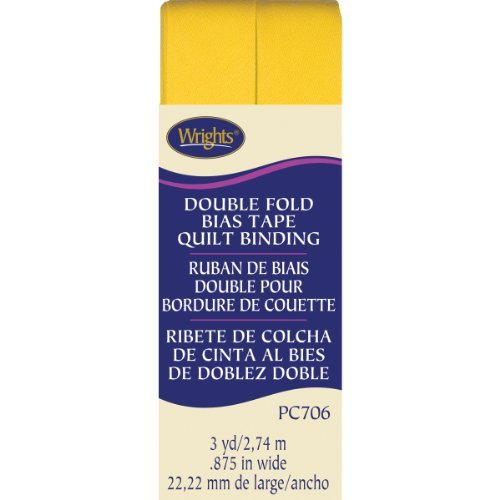Wrights Double Fold Quilt Binding, 7/8 by 3-Yard, Yellow by Wright Products -