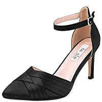 SheSole Ladies Hight Heels Ankle Strap Evening Dress Court Shoes Black Size 5