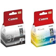 Canon - Cartucho de tinta para impresoras PIXMA iP1900 iP2600 iP2500 MP140 MP190 MP210 iP1800 MP220 MP470 MX300 MX310, negro (PG-37) y color (CL-38)
