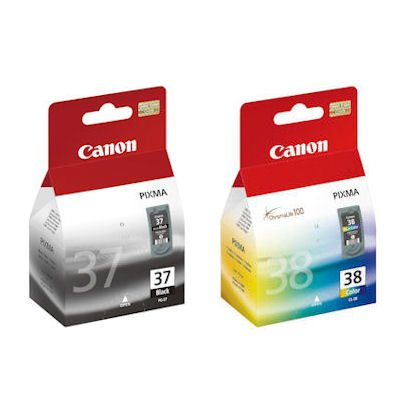 Original Genuine Canon PG37 (PG-37) Black & CL38 (CL-38) Colour Ink Cartridge For PIXMA iP1900 iP2600 iP2500 MP140 MP190 MP210 iP1800 MP220 MP470 MX300 MX310