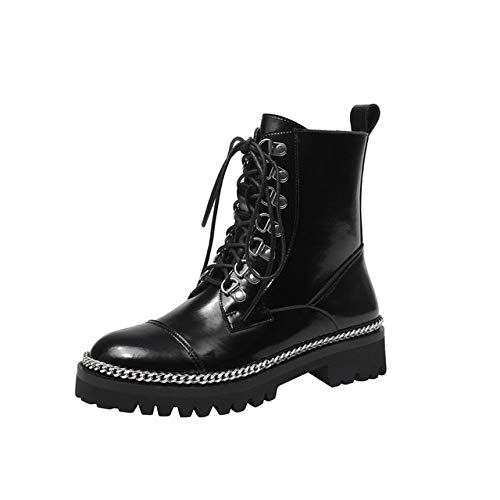 QPDUBB Ankle boots Cow Patent Leather Chain High Heels Motorcycle Boots Women Punk Ankle Boots Party Dancing Shoes Woman