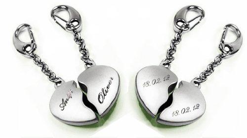 Coney Schlüsselanhänger geteiltes Herz (Groß) mit SOFORTGRAVUR auf der Vorderseite 2x 1 Name + 2 x 1 Datum auf der Rueckseite inklusive: 2 in 1 Duo Schlüsselanhänger in Liebe und Freundschaft