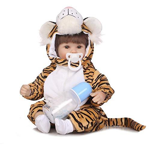Reborn Babypuppen, Lebensechte Simulierte Weiche Silikon-Tuch-Körper Mit Niedlichen Tiger Kostüm Kleinkind Kuschel Puppe Für Kinder Babys, 15,7 Zoll WENNIU