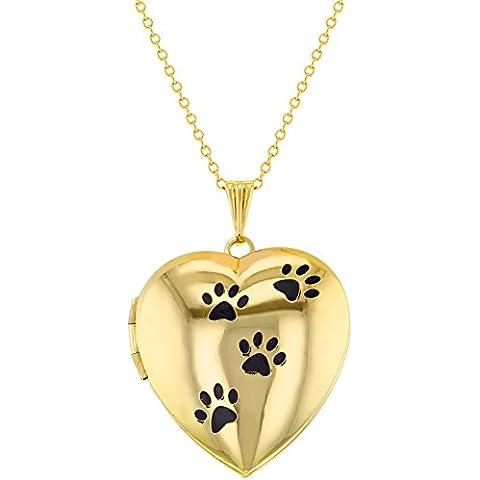 Oro tono Cuore Medaglione per foto mio Orme di cane ciondolo 19