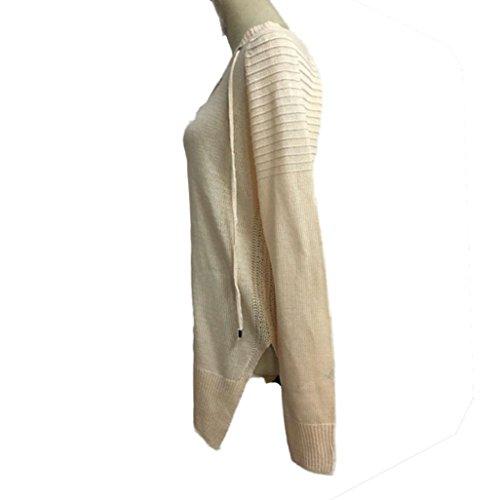 Transer ® Chemisier Femme,Mode féminine à manches longues col en V Bandage Knit longue Top Pull Tricot lâche Pull Casual Beige/Noir/Rose(S-XL) Beige