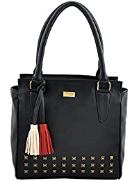 Yelloe Black Synthetic Leather Hand Bag With Multicolored Tassel