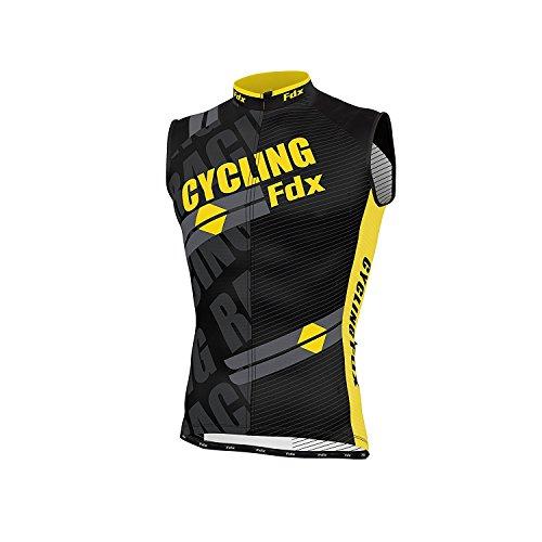 FDX Herren Ärmelloses Trikot, atmunsaktiv, Team Racing Radfahren Top Größe L gelb - Fahrt Ärmelloses T-shirt