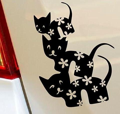 Chat Kitty Floral Hobby Funny Animaux Rigolos voiture pare-chocs fenêtre Funny en vinyle Van pour ordinateur portable Love Heart Decor Home Live Stickers Funny autocollant mural en moto