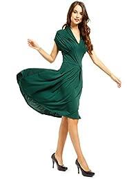 Robe retro manche court pin-up annee 50 60 soiree vert rouge V Rockabilly swing WWII soiree fete Danse Balle