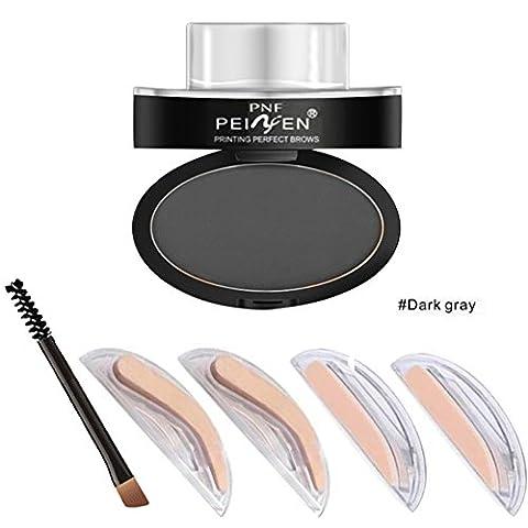 Hanyia Eyebrow Stamp Kit Augenbrauen Pulver Wasserdicht Mit Augenbrauen Schablonen Pinsel Werkzeuge mit 2, 3 Augenbrauen (Augenbraue-formen Stencils)
