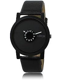 Xurious Enterprise Round Dial Analogue Black Dial Black Leather Strape Fashion Wrist Watch For Men & Boys | XE_LR... - B07FZLBX8P