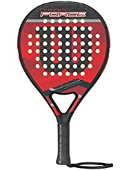 Wilson Carbon Force Paddle Rkt BKRD Pala de pádel, Unisex Adulto, Negro/Red