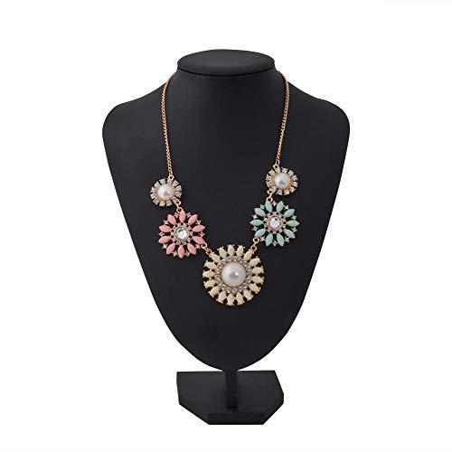 Jannyshop Chrysanthemum Pearl Short Necklace Damen Daisy Flower Resin Halskette