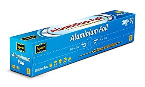 Superior Premium Heavy Duty Quality Food service Catering Aluminium Foil Roll 30cm x 50 metres 18 micron (1 Roll)