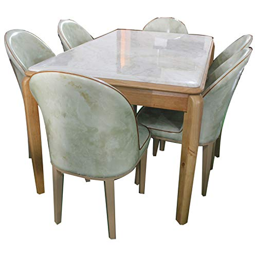 Baba Deep Singh Furniture Wooden and Italian Marble Dining Table (White)