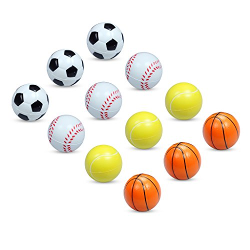 Set von 12Pcs 6cm Basketball Fußball Bouncy Relaxable Squeeze Ball Stress Relief Spielzeug sortierte Styles