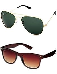 2ba2e7e2e4 Aventus Combo Golden Aviator   Brown Wayfarer Sunglasses for Men and Women  (Unisex) -