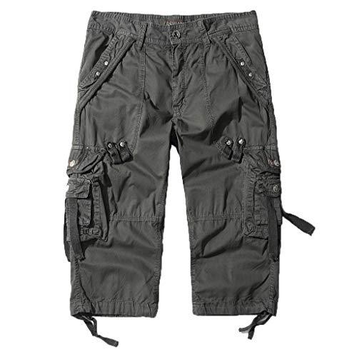 Shorts Herren Reißverschlusstaschen Pure Farbe Draußen Strand Beiläufig Arbeit Cargo Hose Capri Bib