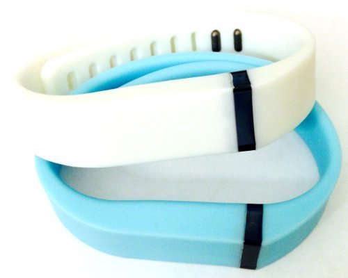 ! Large L 1pc Light Blue 1pc White Replacement Bands + 1pc Free Large Grey Band With Clasp for Fitbit FLEX Only /No tracker/ Wireless Activity Bracelet Sport Wristband Fit Bit Flex Bracelet Sport Arm Band Armband by Pl