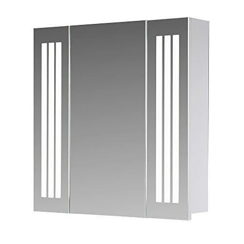 eurosan Armario con espejo, Super Plano, iluminación de LED frontal integrada, color blanco, Sydney, madera, madera, weiß, 80 x 62 x 13 cm