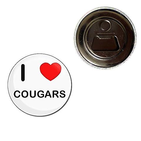 I Love Cougars - 55mm Fridge Magnet Bottle Opener