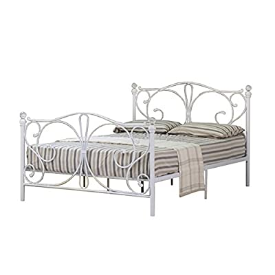 4ft Small Double Metal Bed Frame with Decorative Crystal Finials in White with Tanya Mattress