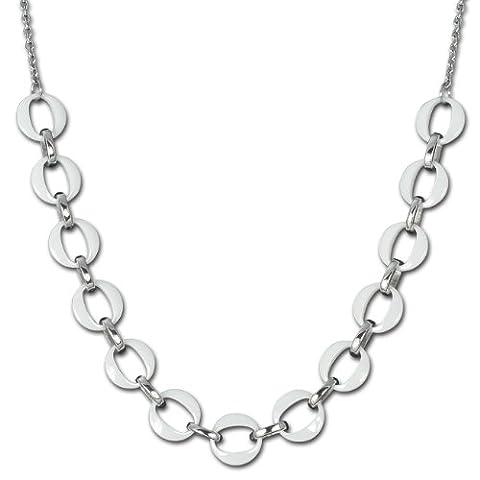 Amello bijoux en acier inoxydable - Amello collier en céramique à plusieurs anneaux blanc - collier en acier inoxydable pour femmes - ESKX02W