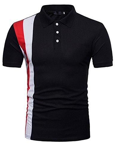 Polo Hombres Camiseta Casual de Manga Corta Moda Deportiva Slim Fit Contraste Negro M