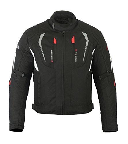 Kurze Textil Motorrad Jacke Motorradjacke Schwarz/Weiß (XXXXXL)