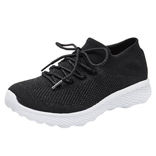 BRISEZZ Sneaker Sportschuhe Damen, Damenmode Fitnessschuhe, Abriebfeste Damen Wanderschuhe Socken Sneakers Mesh Slip On Lazy Laufschuhe, Turnschuhe zum Laufen (Schwarz, 40)