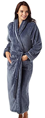 Ladies Flannel Fleece Dressing Gown Robe Satin Trim Full Length