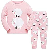 LitBud Girls Pajamas Unicorn,Sleepwears 2pcs Long Sleeves Pjs Nightwear Tops + Pants Sets Nightwear Outfits for Kids Toddler 2-10 Years