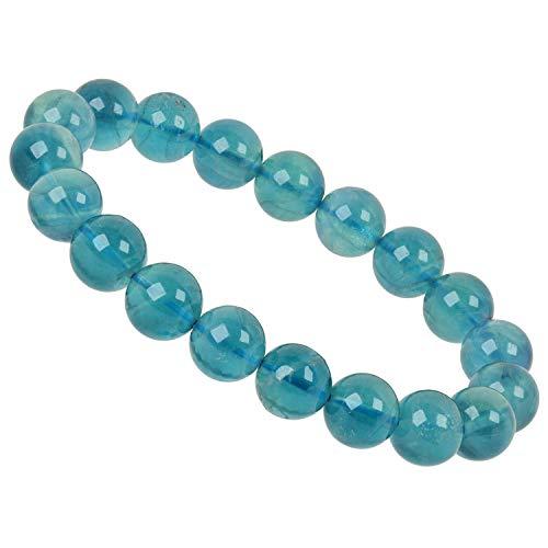 PowerBead Edelstein Perlen Armband 10mm mit Fluorit blau für Damen und Herren 10 Power Girl