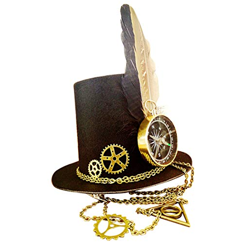 Sakuldes Steampunk Top Hut Haarspange Party Hut mit Feder & Getriebe & Kompass Decor Party Cosplay Zubehör (Color : ()