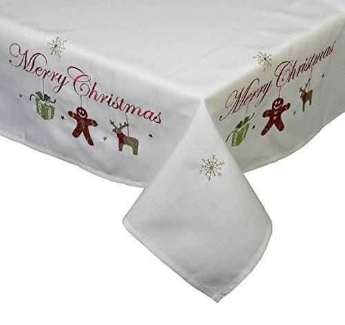 Merry Christmas Mitteldecke bestickt Lebkuchen Geschenk Rentier Festive Xmas Esstisch (78,7x 78,7cm) -