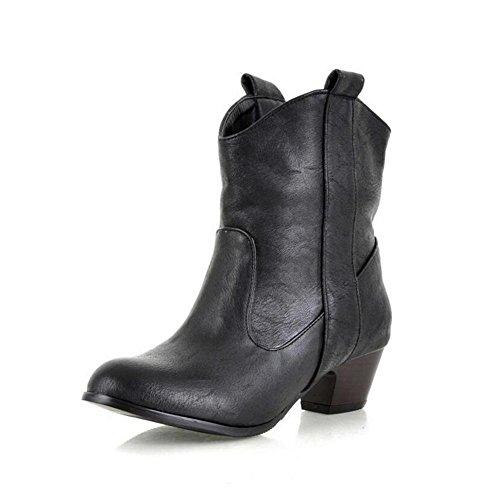 CYMIU Rough Mid Heel Kurze Stiefel Western Heel Ankle Boots Damen Damen Winter Größe Code Leder Nähte Rutschfeste 3233404142434445, 41 (Damen-western-stiefel Knöchel)
