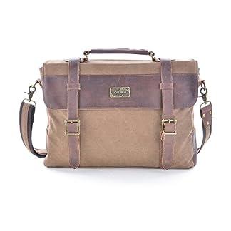 41OLoxFApQL. SS324  - Gootium Vintage Canvas Leather Messenger Bag 14 Inch Laptop Shoulder Bag Bolso Bandolera, 38 cm