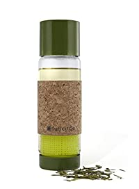 Full Circle Tea Time insulated glass travel bottle with tea infuser and cork sleeve, 19-Ounce, Sencha Green