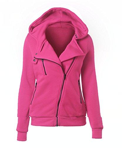 Blansdi Damen Winter Herbst Bewegung Freizeit Revers Kapuze Langarm Schräg Reißverschluss Sport Jacke Sweatshirt Pullover Schlank Mantel Outwear 10 farben Rose rot