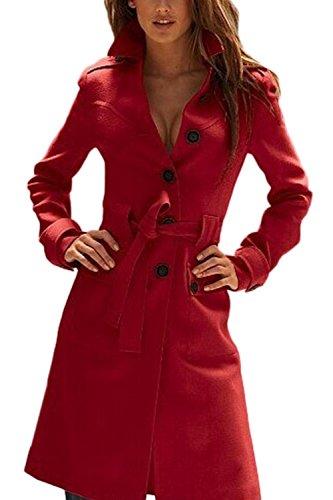 Une Femme Élégante Tunique De Laine Vêtements Manteaux Poitrine Unique Impers red