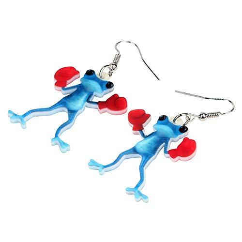 ZHENZHIA Ohrring Acryl Boxer Blue Frog lustige Neuheit Tier Schmuck für Frauen Mädchen Geschenk Accessoires