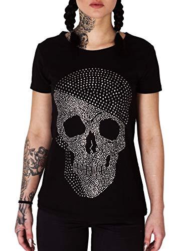 Kefali Damen Totenkopf Strass Shirt Skull Totenkopfshirt Schwarz S - 36