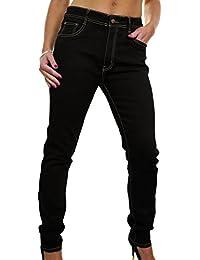 ICE (1493-1) Jeans de Denim Noir Extensible à Jambes Effilées pour Femmes Grandes Tailles