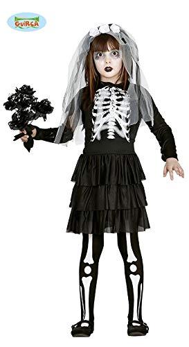 Guirca Braut Skelett Kinder Kostüm für Halloween Mädchen Halloweenkostüm Gr. 110-146, Größe:122/128